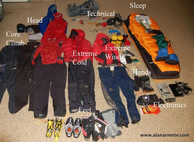 Gear for Mt. Vinson