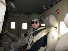 Sandra riding in a Light Armoured Vehicle, Kandahar City.