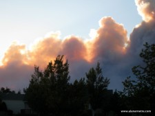 Sunset glow in smoke plume June 10, fire approaching Ft. Collins