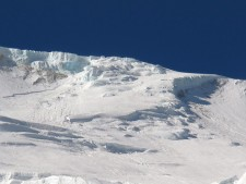 The ramp, showing seracs and crown wall, Manaslu 26 September 2012 Photo: © Chris Groves,