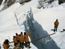 Early Everest Crevasse Crossing