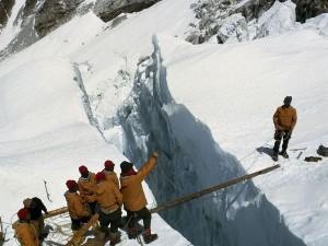 Early Everest Crevasse Crossing