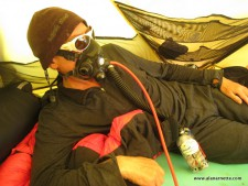 Alan with Top Out oxygen mask on Everest in 2011