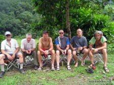 Our team on a hot day during the trek