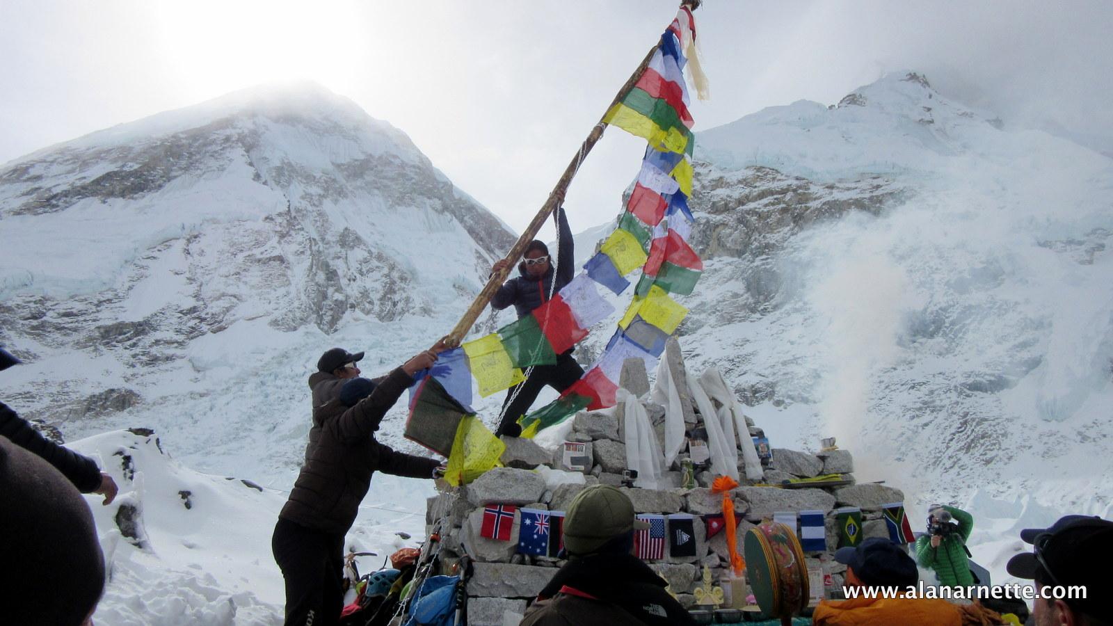 Raising Prayer Flags over Everest Base CampRaising Prayer Flags over Everest Base Camp