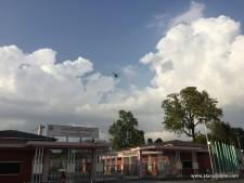 Relief helicopters over Kathmandu