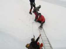 Falling off ladder in Khumbu Icefall. courtesy of Bill Burke
