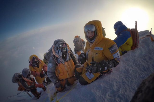 Jon Gupta, Mollie Hughes, Sherpas Lila and Lhakpa on the summit 16 May. courtesy of Jon Gupta