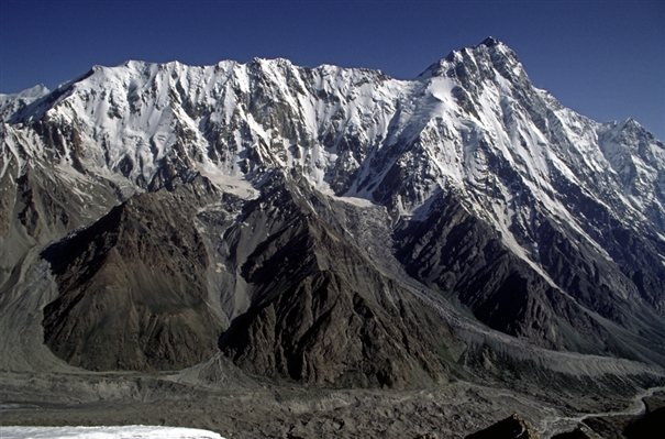 The Mazeno Ridge of Nanga Parbat. The giant Rupal Face is on the right. by Doug Scott.