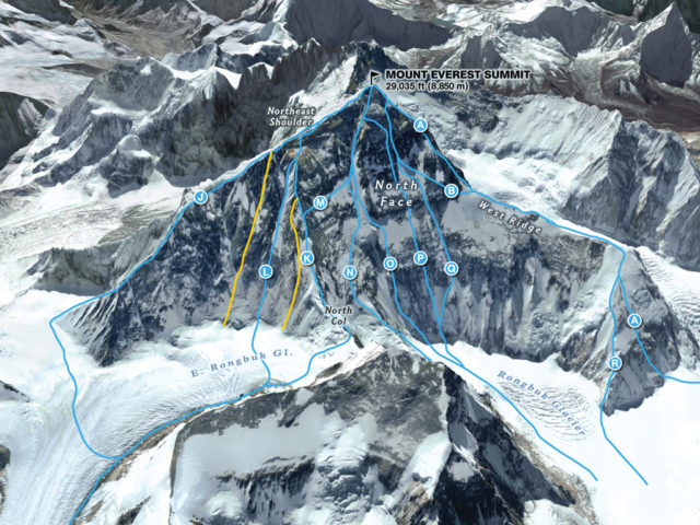 North Face Everest Routes Courtesy: MARTIN GAMACHE, JAIME HRITSIK, CHIQUI ESTEBAN, NG STAFF SOURCES: 3D REALITY MAPS; THE AMERICAN ALPINE JOURNAL; THE HIMALAYAN DATABASE; ED WEBSTER; EAST FACE IMAGERY COURTESY OF DIGITAL GLOBE @ 2012; RAPHAEL SLAWINSKI