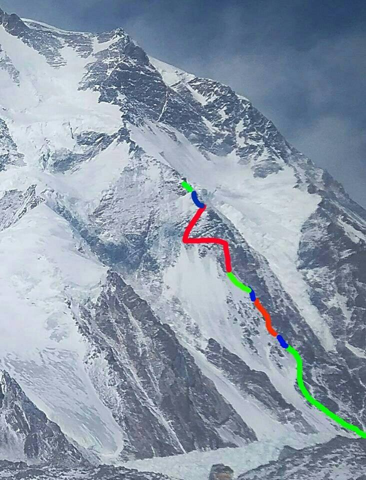 current K2 route on the Cesen Colors show progress from each rotation