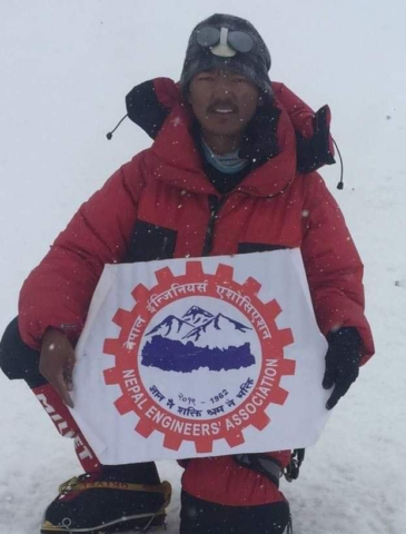 Mingma Dorjee Sherpa, son of Kami Sherpa on the summit Everest 2019