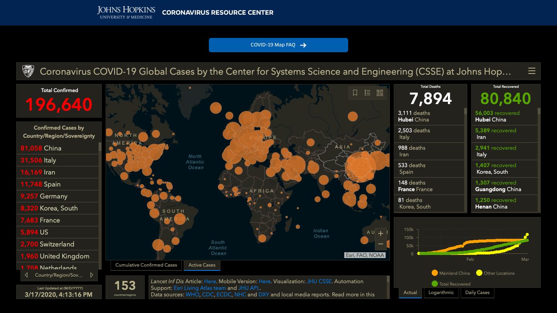 Johns Hopkins Coronavirus Map - March 17, 2020