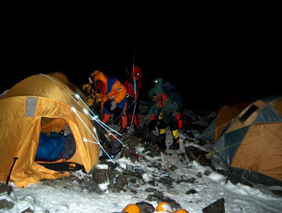 Leaving Camp 4 at night
