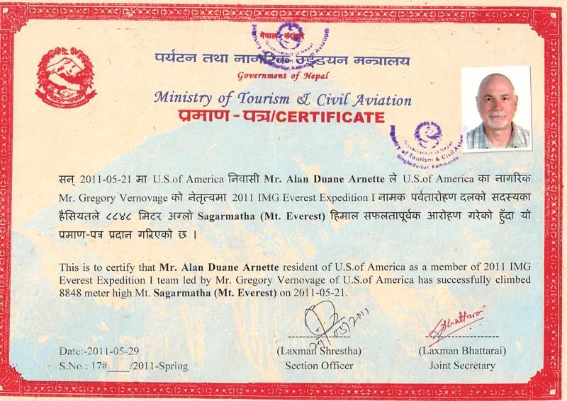 Alans ofical Everest summit certificate
