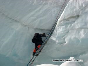 Climbing ladders in the Ice Fall