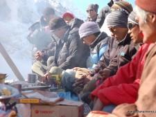 Lama and Sherpas at the puja.