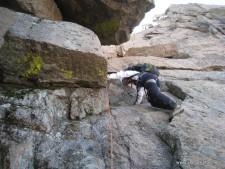 The crux move on Longs Peak Northwest Couloir