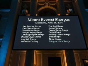 Tribute to fallen Everest 2014 Sherpas