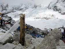 Broken Puja pole from earthquake blast