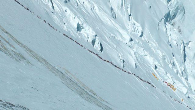 Climber line on Lhotse Face in 2012. Courtesy of Ralf Dujmovits