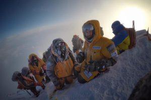 Jon Gupta, Mollie Hughes, Sherpas Lila and Lhakpa on the summit 16 May. courtesy of Jon Gupta