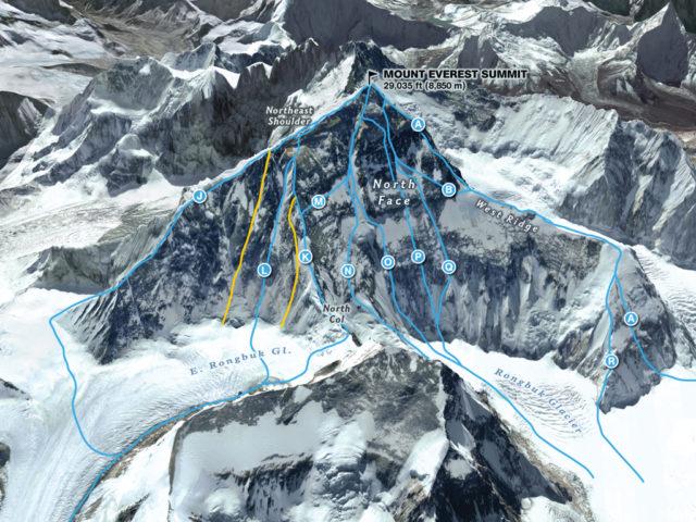 North Face Everest Routes Courtesy: MARTIN GAMACHE, JAIME HRITSIK, CHIQUI ESTEBAN, NG STAFF SOURCES: 3D REALITY MAPS; THE AMERICAN ALPINE JOURNAL; THE HIMALAYAN DATABASE; ED WEBSTER; EAST FACE IMAGERY COURTESY OF DIGITAL GLOBE @ 2012; RAPHAEL SLAWINSKI