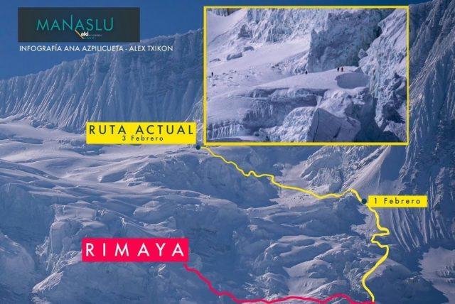 New Manaslu route. Courtesy of Alex Txikon